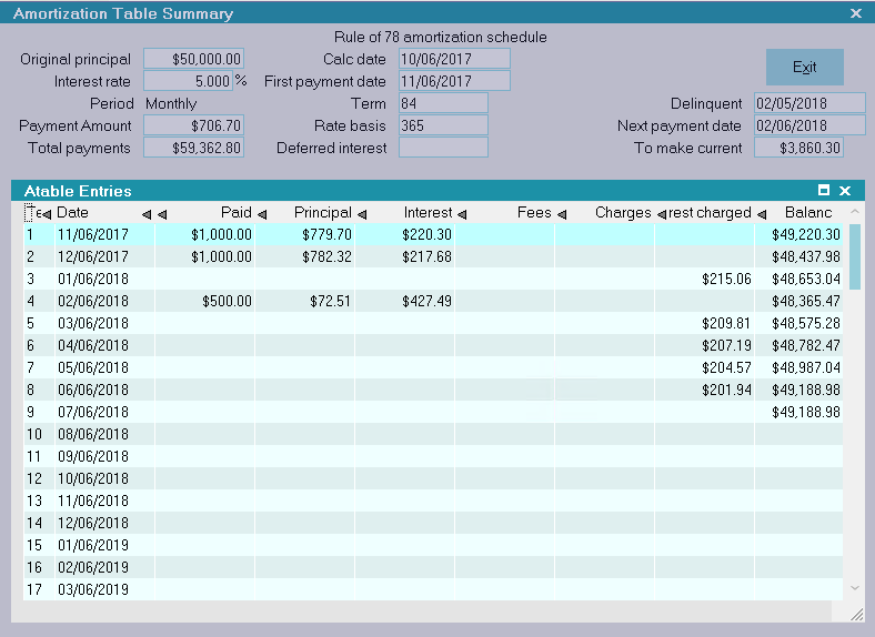 amortization table summary collect help